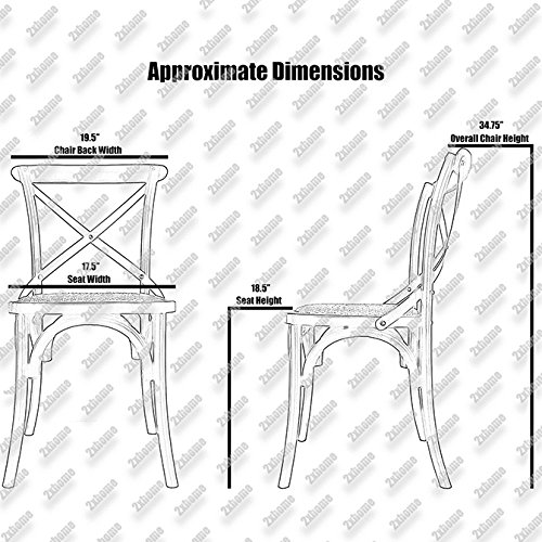 2xhome White Mid Century Modern Farmhouse Antique Cross Back Chair With X Back Assembled Solid Real Wooden Frame Antique Style Dining Chair Side Armless For Accent Chairs Woven Kitchen Task Work Desk by 2xhome (Image #2)