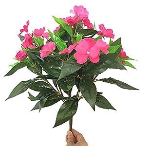 Lopkey lifelike Silk Artificial Impatiens Bouquet Flower Patio Lawn Garden Wedding Decor,Rose Red 92