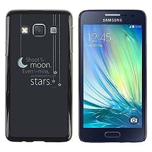 TopCaseStore / la caja del caucho duro de la cubierta de protección de la piel - Moon Stars Text Grey Blue Night Sleep - Samsung Galaxy A3 SM-A300