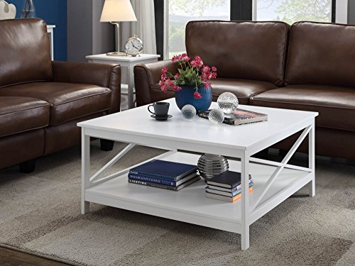 "Convenience Concepts Oxford 36"" Square Coffee Table, White"