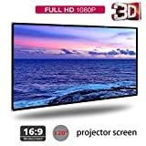 120'' Portable Foldable Projector Screen 16:9 Polyester Simple Soft Rear Front Projection Foldable No Creases HD Home Theater Outdoor 3D Movies (120'')