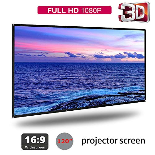 "120"" Portable Foldable Projector Screen 16:9 Polyester Simple Soft Rear Front Projection Foldable No Creases HD Home Theater Outdoor 3D Movies (120"")"
