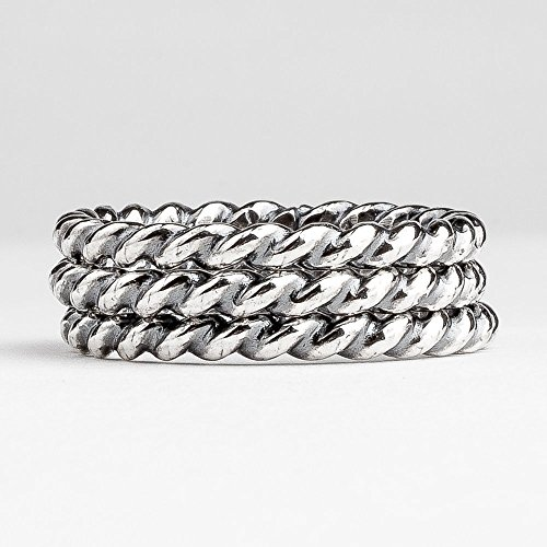 Custom Heavy Weight Twist Rope Stacking Rings in Oxidized