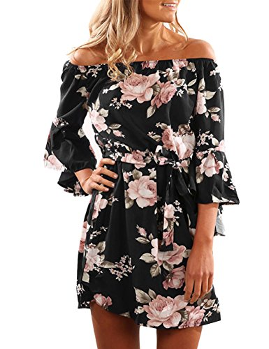 Colorful House Women's Beach Off-Shoulder Sleeved Floral Print Tunic Dress (Size M, Black)