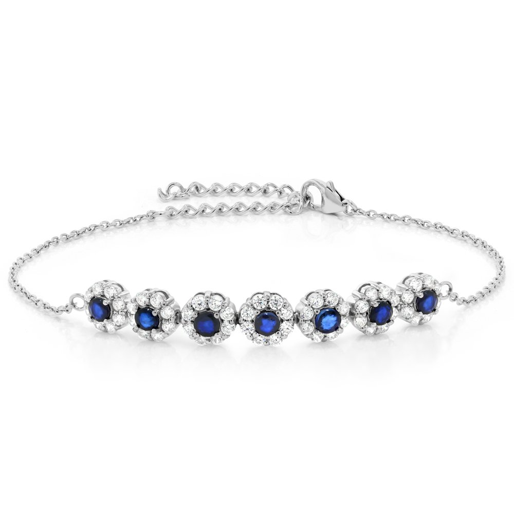 Gem Stone King 925 Sterling Silver Blue Sapphire and White CZ Women's Tennis Bracelet, 1.80 Cttw, 7 Inch with 2 Inch Extender by Gem Stone King