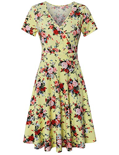 SUNGLORY Wrap Dress,Women's Deep V Neck Short Sleeve Unique Cross Wrap Casual Flared Midi Dress