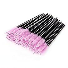 Makartt Disposable Eyelash Mascara Brushes Wands Applicator Eyebrow Brush Makeup Kit 50pcs Pink