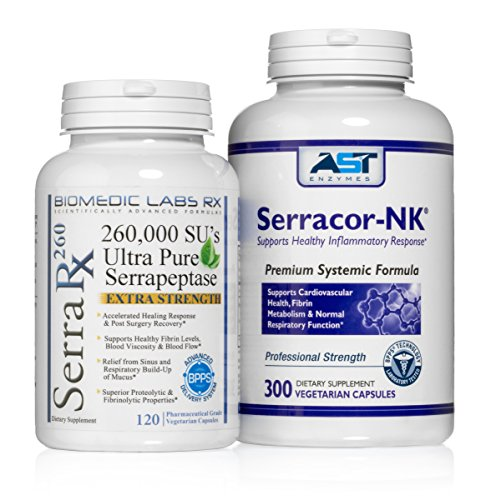 Serracor-NK & Serra RX 260 Scar Tissue Bundle (300 Capsules & 120 Capsules) Both Products Contain Enteric Coated Serrapeptase Enzyme by Biomedic Labs RX