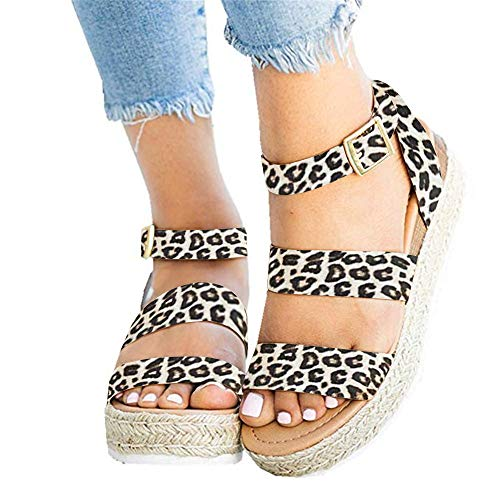 (Ymost Womens Wedges Sandal Open Toe Ankle Strap Trendy Espadrille Platform Sandals Flats (10 B(M) US-EU Size 42, Z-Leopard))