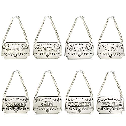 8PCS Liquor Decanter Tags, Deluxe Set of Liquor Tags for Bottles or Decanters, Liquor Bottles Labels with Adjustable Chain - Whiskey, Bourbon,Scotch,Gin,Rum,Vodka,Tequila and Brandy (Silver)