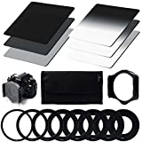 Neutral Density ND Filter Set ND2 ND4 ND8 + Gradual Neutral Density ND Filter G.ND2 G.ND4 G.ND8 + 9pcs Ring Adapter (49mm 52mm 55mm 58mm 62mm 67mm 72mm 77mm 82mm) + Filter Holder + Filter Case for cokin p series for Canon Nikon Sony LF6