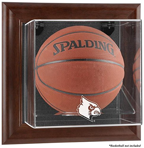 Louisville Cardinals Brown Framed Logo Wall Mountable Basketball Display Case - Display Logo Browns Case
