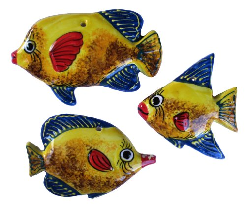 Ceramic Fish Wall Hangers - Set of 3 Shapes (Yellow) - Hand Painted From Spain by Cactus Canyon Ceramics