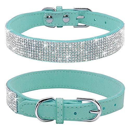 haoyueer Rhinestone Dog Collar, Cute Dazzling Sparkling Soft Suede Leather Dog Cat Rhinestone Collar Crystal Diamond Pet Dog Puppy Collar(Blue,M) ()