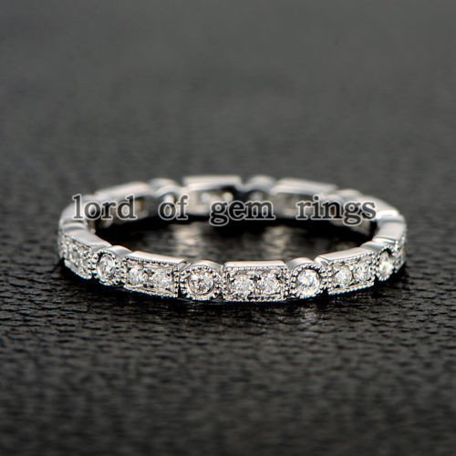 Pave Full Cut Diamond Wedding Band Eternity Anniversary Ring 14K White Gold Art Deco Antique