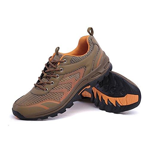 Impermeable senderismo zapatos de los hombres de malla transpirable Trail Outdoor caminando zapatillas para acampar Athletic corriendo deporte viajes escalada zapatos Caqui