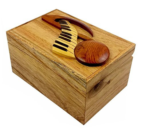 Oberstuff Music Note and Keyboard, 6 x 4 x 3.25, All Natural Exotic Woods Jewelry and Storage Box with Brass Hinged Lid. Hand-Made Wood Onlay Design on Lid.