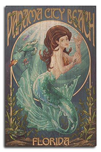 Panama City Beach, Florida - Mermaid (10x15 Wood Wall Sign, Wall Decor Ready to Hang) (Decor City Panama Beach Beach)