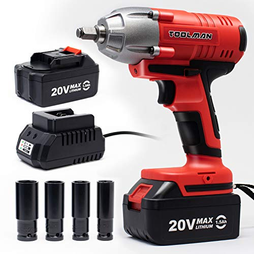 "Toolman Cordless 1/2"" 20V 1.3A Max Impact Wrench, 280N.m Max Torque with 4 sockets 2 batteries ZTP022"