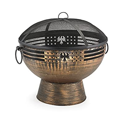 "Good Directions FB-5 Oversized Eagle Fire Bowl with Spark Screen, 26"" x 26"" - With its beautiful spherical form, Good Directions deep Copper finish extra large fire bowl Sets every outdoor gathering ablaze with a great ball of fiery excitement Oversized allows for a longer lasting fire Hand-hammered Steel with Copper finish - patio, outdoor-decor, fire-pits-outdoor-fireplaces - 51caI8fdLLL. SS400  -"