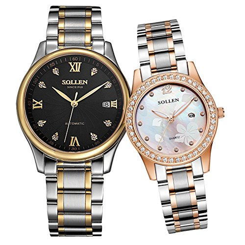 SOLLEN His and Hers Crystal Engraving Quartz Analog Waterproof Wrist Watch Luminous Couple Watch 2 pcs SL-521 (Black) by SOLLEN