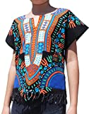 RaanPahMuang Branded Cotton Childs Dashiki Shirt Tassels and Pockets Black Tone, 10-12 Years, Black/Orange