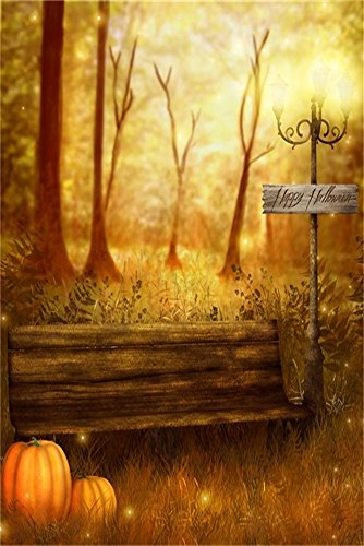 LFEEY 3x5ft Fall Park Scenery Backdrop Autumn Garden Bench Pumpkin Photography Background Outdoor Dried Grass Woods Tree Thanksgiving Halloween Holiday Party Decoration Photo Studio Props Vinyl -