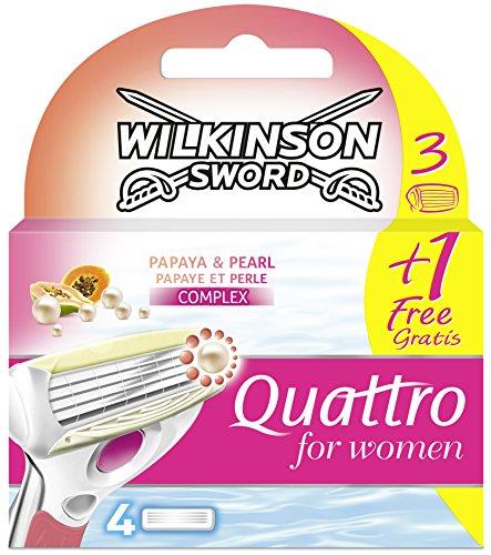 Wilkinson Sword Quattro for Women Klingen Papaya und Pearl, 3 +1 Gratis, 4 Stück