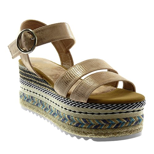 Angkorly Women's Fashion Shoes Sandals Mules - Ankle Strap - Platform - Folk - Multi Straps - Snakeskin - Buckle Wedge Platform 8.5 cm Champagne