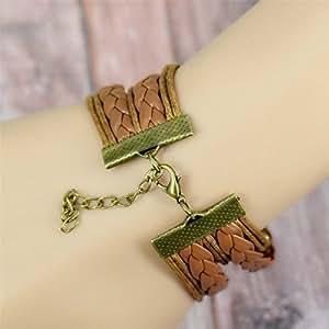 Damelie pulsera Wax Line piel 8 palabra elegante cera línea charms pulseras brazalete árbol Infinity Love pájaro