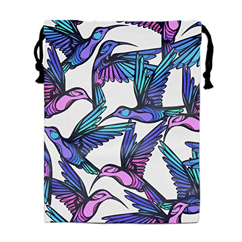 (Flying Tropical Colorful Hummingbirds Drawstring Bags Party Favors Bags(1 Pack), Personalised Birthday Fabric Party Goodie Bag Gift for Kids Boys &)