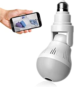 WiFi Light Bulb Camera 1080P HD - Wireless 360 Degree Panoramic IP Camera - Lamp Surveillance Camera with Floodlight and Infrared Night Vision, Motion Detection, Alarm Events, App and PC Software