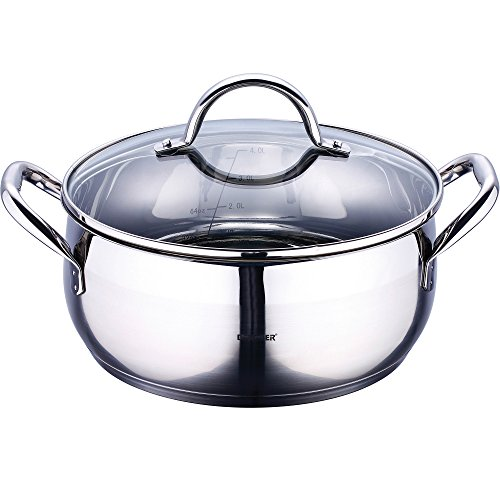 - Bergner Gourmet Casserole with Lid, Silver, 8 Litre/28 x 13 cm