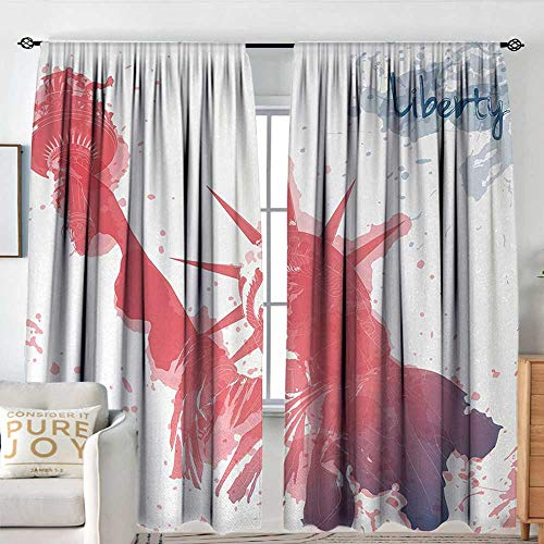 Petpany Curtains for Bedroom 4th of July,Watercolor Lady Liberty Silhouette with Paint Splashes Independence,Dark Coral Pale Blue,Darkening and Thermal Insulating Draperies 72