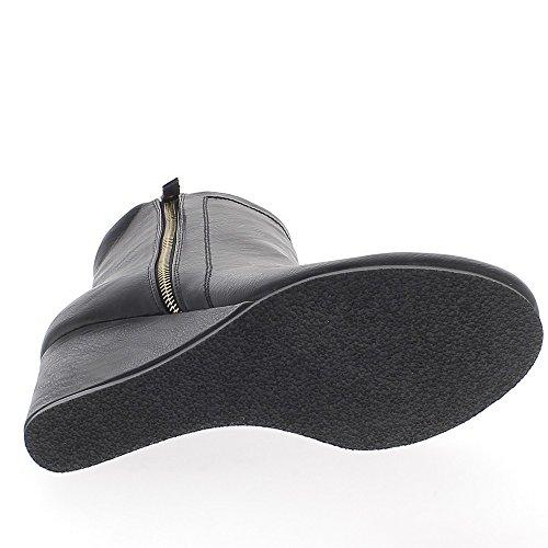 Il cuneo grande donna stivali sguardo splendente pelle di dimensioni nero tacco 9,5 cm