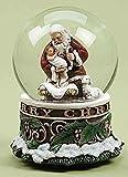 """5.5"""" Josephs Studio Musical Kneeling Santa with Baby Jesus Christmas Snow Globe Glitterdome"""