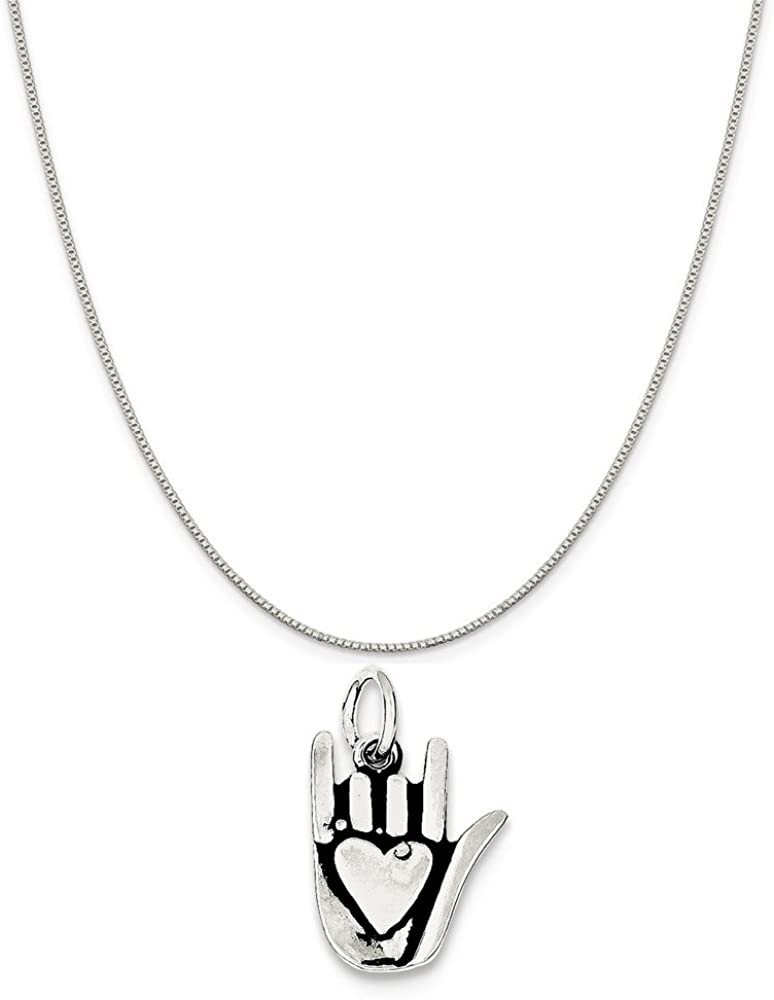 16-20 Mireval Sterling Silver Antiqued Sign Language Charm on a Sterling Silver Chain Necklace
