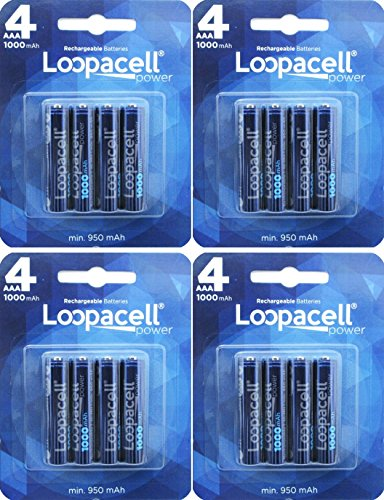 Loopacell 48-MD70-XWY9 AAA 1000mAh Ni-MH Rechargeable Battery with Storage Pack of 16