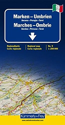 Italien 09. Marken - Umbrien de Agostini 1 : 200 000. Straßenkarte (Kümmerly+Frey Reisekarten)