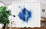 vanfan 2 Panel Set Digital Printed Blackout Window Curtains for Bedroom Living Room Dining Room Kids Youth Room Window Drapes(W84 x L95, Blue explosionsolated on white ba) For Sale
