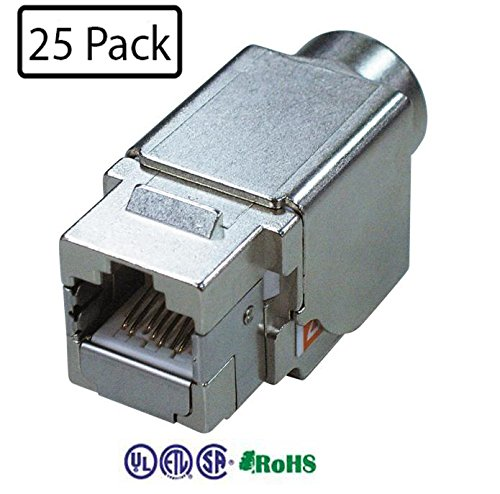 Infinity Cable Shielded Metal Cat6A RJ45 Keystone Jack 8P8C 180 Degree T568A/B (25 PACK)