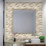 Verona Beige Linear Mosaic Composite Vinyl Wall Tile-HUE DECORATION (50-Pack)