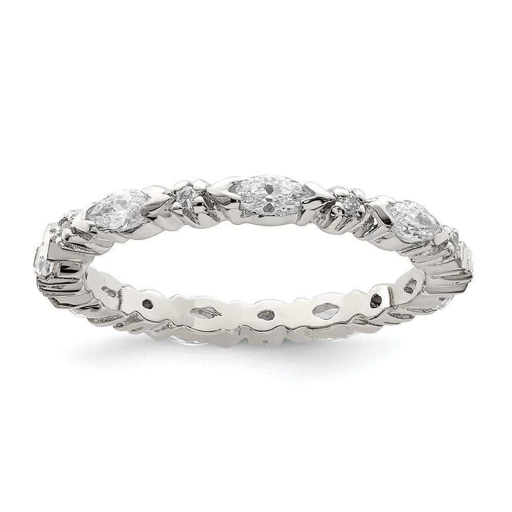925 Sterling Silver Cubic Zirconia Cz Wedding Ring Band Size 7.00 Eternity Fine Jewelry Gifts For Women For Her