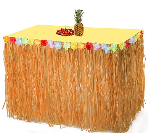 2PCS Luau Hawaiian Grass Table Skirt Decorations - Hula Hibiscus Tropical Birthday Summer Pool Party -
