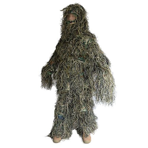 JUMPEAK Hooded Ghillie Suit Camo Clothing Woodland Camouflage Suits for Jungle Hunting,Shooting, Airsoft,Wildlife Photography,Halloween,Christmas (Woodland)