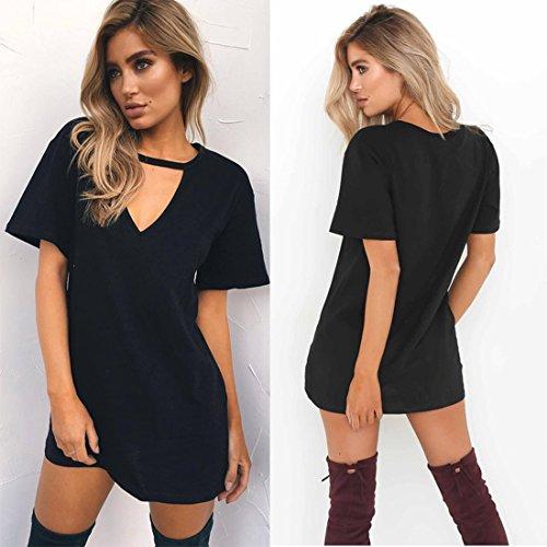 Cuello Verano Gargantilla Camiseta Jiayiqi con Negro Tops En Vestido Profundo 3XL Sólido V Tees S Mujeres 5YwwqxBtP