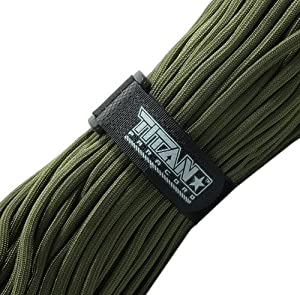 "TITAN WarriorCord, 100 Feet - Authentic Military 550 Paracord - MIL-C-5040-H, Type III, 7 Strand, 5/32"" (4mm) diameter, 100% Nylon Parachute Cord. Includes 2 FREE Paracord Project eBooks."