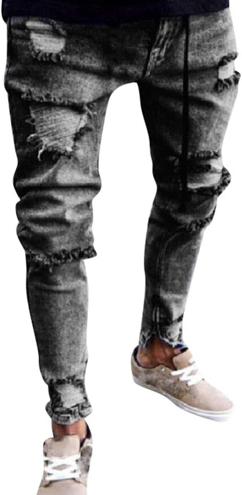 Wanyangg Pantalones Vaqueros Impreso Hombre Rotos Elasticos
