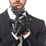 Nappaglo Men's Nappa Leather Gloves Touchscreen Winter Velvet Driving Motorcycle Mittens with Decorative Zipper (M (Palm Girth:8''-8.5''), Black (Non-Touchscreen))