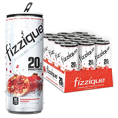fizzique® Sparkling Protein Water – Pomegranate Punch, 20g Protein, 2 Net Carbs, 90 Cals, Protein Energy Drinks, Low Carb Drinks, Gluten Free, Lactose Free, Sugar Free, 12 fl. oz. 12 cans / case. (Protein Water)
